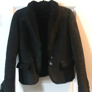 Gucci Black Leather Shearling Lined Jacket